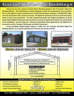 30'x30'x12' Steel Garage/Workshop Building Kit Excel Metal Building Systems Inc