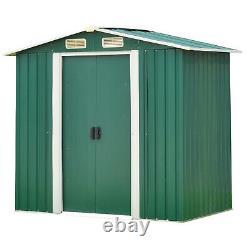 6' x 4' Outdoor Steel Garden Storage Utility Tool Shed with Door Lawn Building