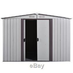 8' x 8' DIY Backyard Metal Garden Shed Storage Kit Building Doors Steel Outdoor
