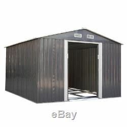 9'x10' Outdoor Garden Backyard Steel Tool Storage Shed Building Gable Roof Gray