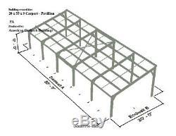 GALVANIZED STEEL Carport or Pavillion-20 x 55 x 9 METAL BUILDING KIT-Delivered
