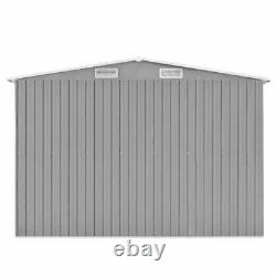 Garden Shed 156.7 Metal Gray Garage Building Tool Storage House Lawn Furniture