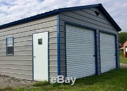 METAL 2 Car Garage Carport Workshop 24x26x9 STEEL Building FREE DELIVERY SETUP
