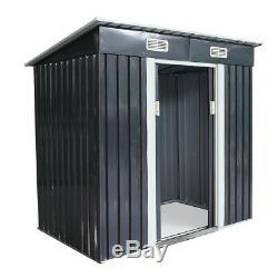Outdoor 4' x 6' Garden Shed Storage Kit DIY Backyard Metal Building Doors Steel