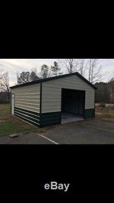 STEEL Garage Workshop Fully Enclosed Metal Building 24x26x9 FREE SETUP DELIVERY
