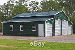 Steel Building Metal Barn 44x31 4 Garage Doors FREE DELIVERY SETUP
