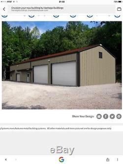 Steel Factory Mfg 30x60x16 Red Iron Metal Frame Storage Garage Building Kit