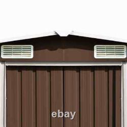 VidaXL Garden Shed 228.3 Metal Brown Storage House Outdoor Garage Building