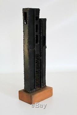 Vtg Mid Century Modern Brutalist Architectural Building Metal Wood Sculpture