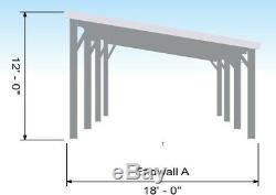 Bâtiment 32x18x9 Carport Acier Kit, 3 Garage Stall Voiture Appentis Construction Métallique