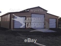 Steel-building-metal-barn-40x51- 2-garage-doors-free-livraison-setup