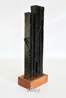 Vtg MID Century Modern Brutalist Bâtiment Architectural En Bois Sculpture En Bois